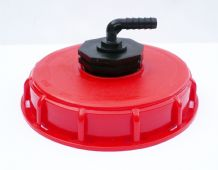 "IBC Storage Tank Topfill Cap (6"" Coarse Thread) with Angled Hose Tail Inlet"